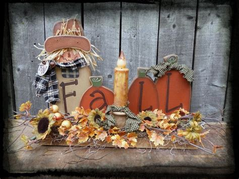 fall wood pattern primitive country scarecrow pumpkins