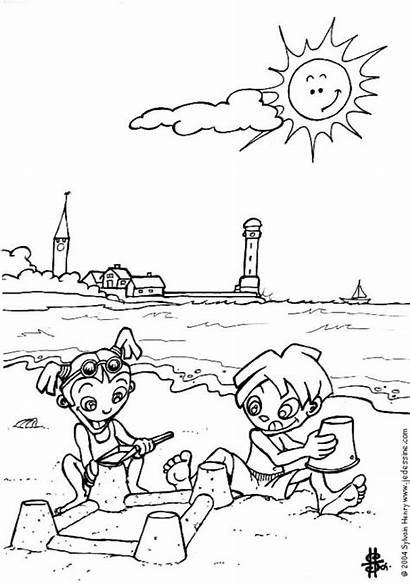 Coloring Pages Beach Printable Scenery Related Funny