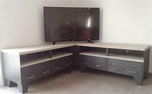 Meuble D Angle Pour Tv : meuble tv d 39 angle style industriel ref baltimore ~ Teatrodelosmanantiales.com Idées de Décoration
