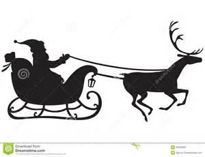 Santa Claus Sleigh and Reindeer Silhouette