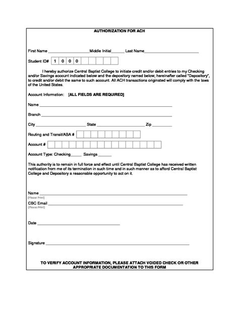 ach authorization form central baptist college