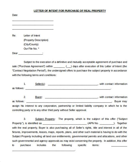 real estate letter intent templates