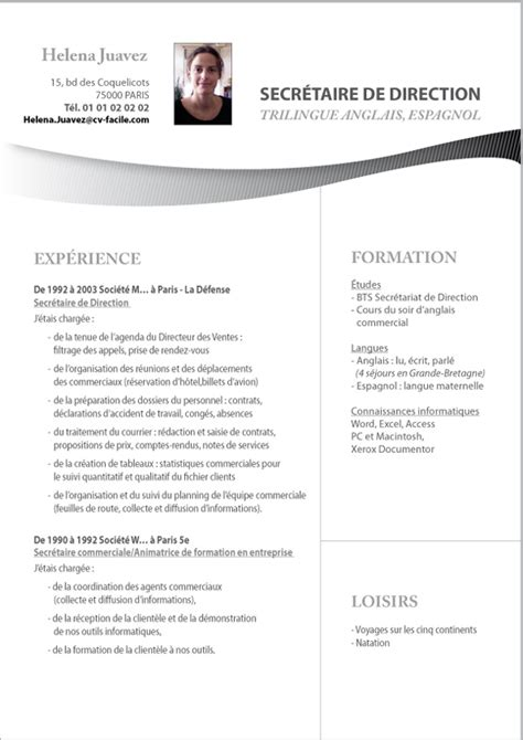 Modèle Cv Gratuit à Télécharger by Resume Format Exemple De Cv Gratuit Secretaire