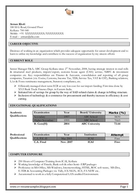 Experience In Resume For Accountant by Excellent Work Experience Professional Chartered Accountant Resume Sa