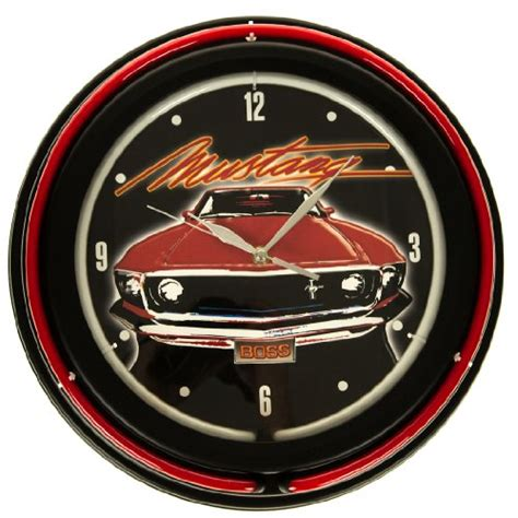 ford mustang double neon light wall clock clocks