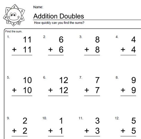 worksheets for elementary math doubles addition math