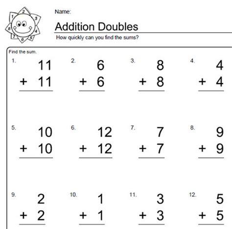 Math Worksheets Grade 1 Adding Doubles Homeshealthinfo