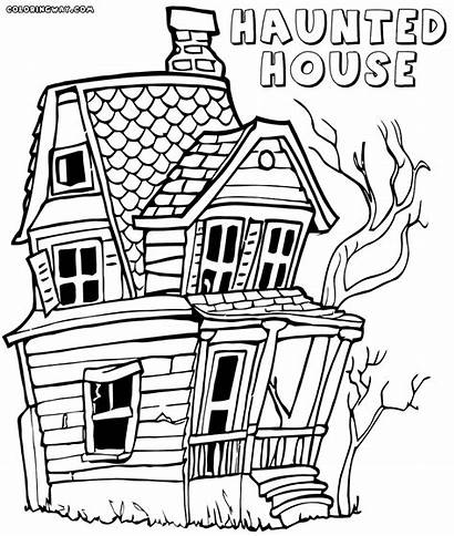 Haunted Coloring Pages Template Spooky Colorings Simple