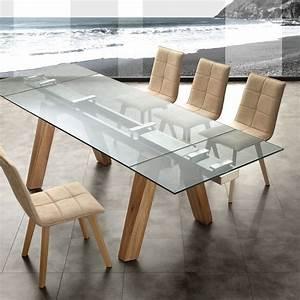 Albenga tavolo da pranzo allungabile in legno massello acciaio e vetro 240cm