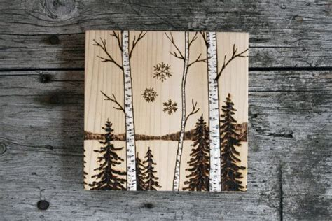 birch trees wood burning by birch trees woodland nature block by twigsandblossoms 36 00 woodburning ideas