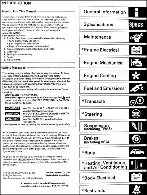 manual repair autos 2002 honda pilot engine control 2006 2008 honda pilot repair shop manual original