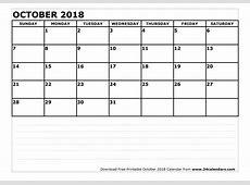 October 2018 Printable Calendar free calendar 2018