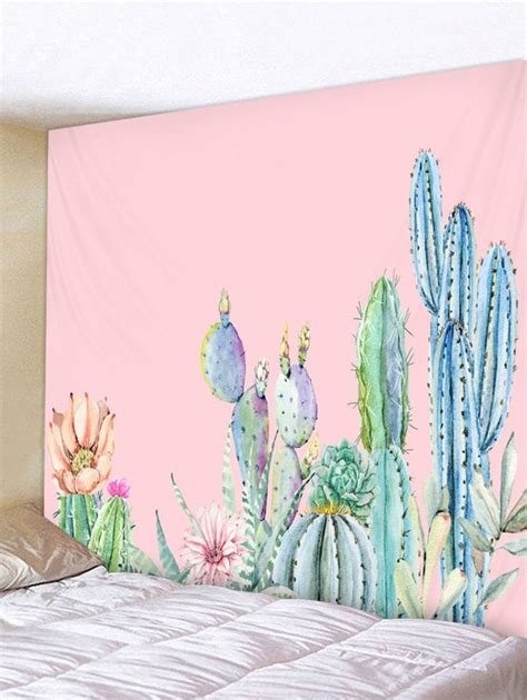 cactus flower print tapestry wall art hanging