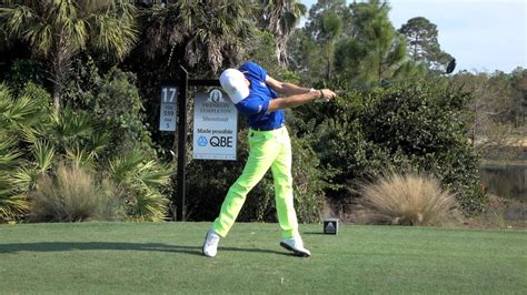 JUSTIN THOMAS 120fps SLOW MOTION FACE ON DRIVER GOLF SWING ...