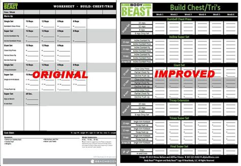 body beast workout sheets excel happy living