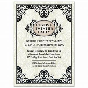 party invitation art deco damask roaring twenties gatsby With roaring twenties invitation template