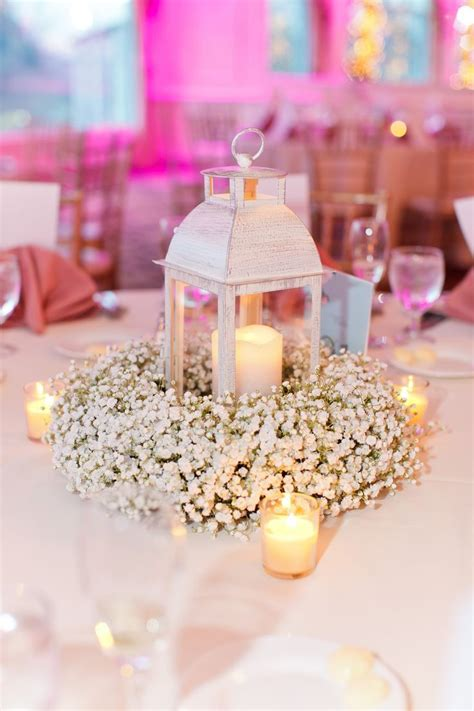 Babys Breath Wreath Centerpiece With Lantern And Candles