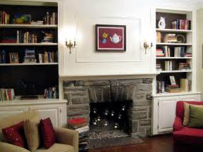 Bookshelves with Fireplace Decorating Ideas