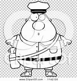 Postal Worker Surprised Chubby Mail Outlined Coloring Clipart Cartoon Vector Thoman Cory sketch template