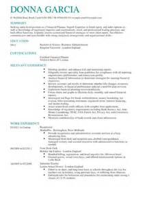 certified financial planner resume sle certified financial planner cv exle livecareer