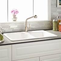 "white kitchen sinks 33"" Elgin 60/40 Offset Double-Bowl Cast Iron Drop-in ..."