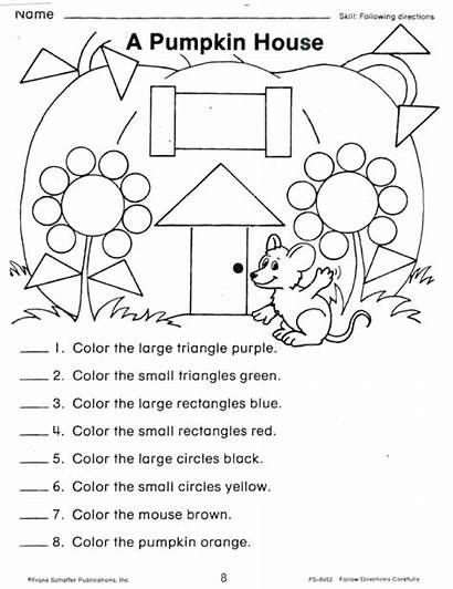 Directions Worksheets Following Shapes Worksheet Shape Printable