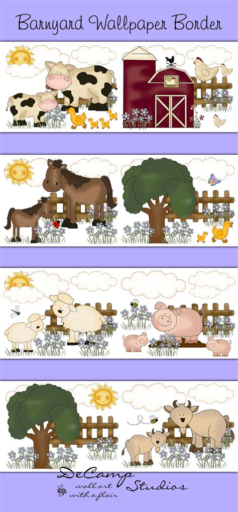 Farm Animal Wallpaper Border - barnyard farm animals wallpaper border wall decals