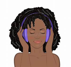 African Girl With Eyes Closed And A Smile Listening To ...