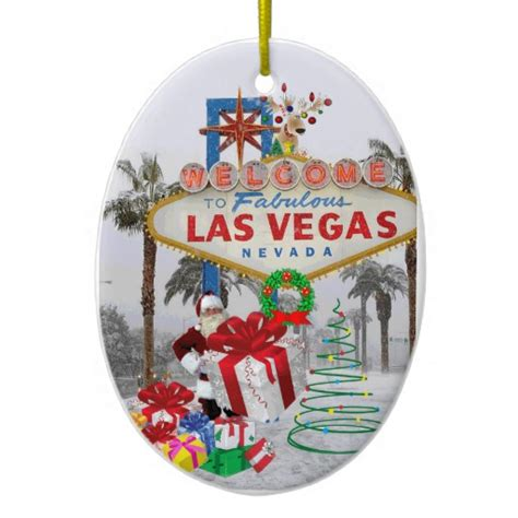 merry christmas las vegas santa ornament zazzle