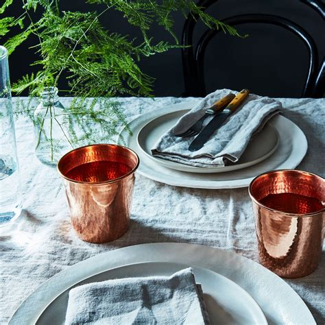 hammered copper water cups set    food