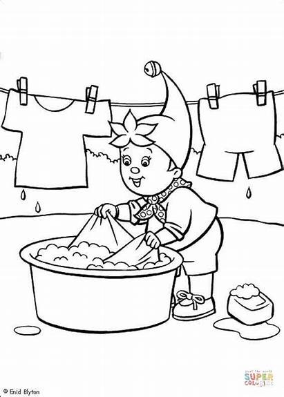 Coloring Pages Clothes Cloth Washes Noddy Printable