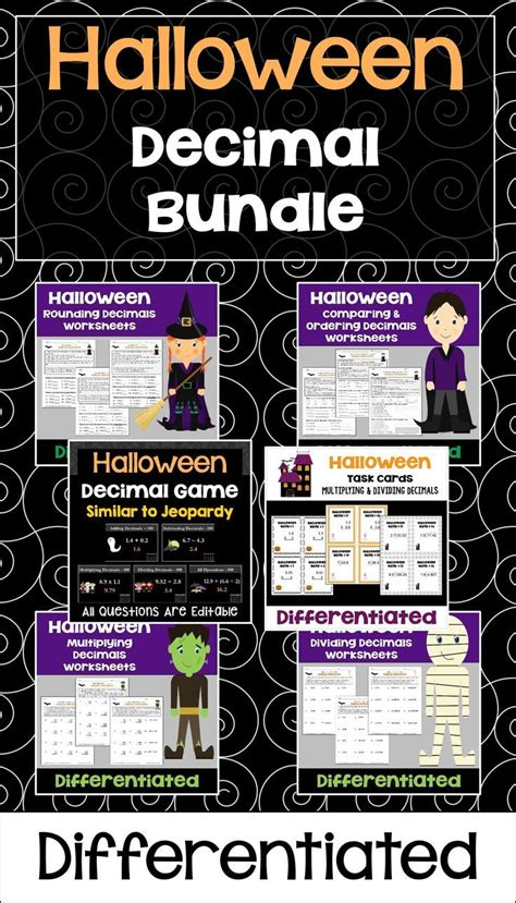 halloween math decimal bundle  worksheets task cards
