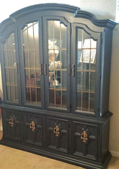 shabby chic navy blue china cabinet  dustybootdesigns