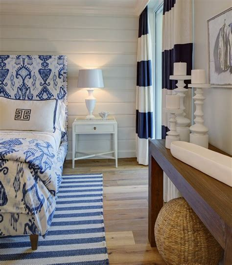 Crisp Home Design by This Oceanfront Home Features A Crisp Navy And White