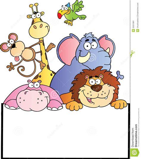 animales de la selva con la tarjeta en blanco de la muestra ilustraci 243 n vector ilustraci 243 n