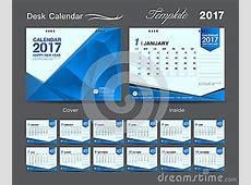 Set Blue Desk Calendar 2017 Template Design, Cover Desk