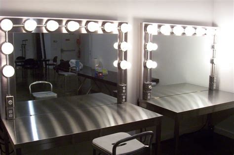 furniture rectangle gray makeup table with lighting