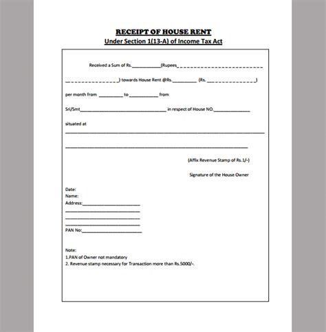 Rent Receipt Template Receipt Template For Room Rent Sle Of Room Rent