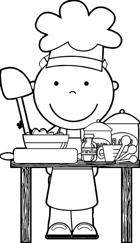 nice chef cooking  images kids coloring page coloring  kids  kids coloring pages