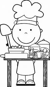 Chef Coloring Clipart Pages Cooking Clip Dinner Restaurant Kitchen Community Chefs Para Colouring Kid Preschool Colorear Helper Sheets Helpers Nice sketch template