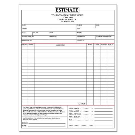 garage invoice template auto repair invoice custom carbonless printing