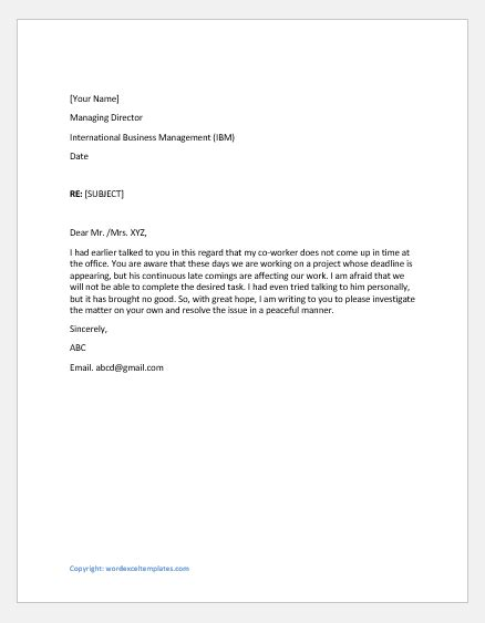 Complaint Letters to Supervisor for Various Reasons | Word
