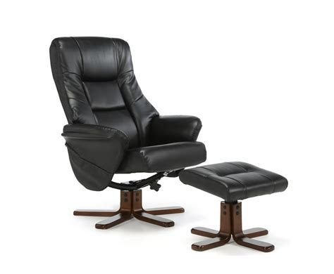 Recliner And Stool by Welton Black Faux Leather Recliner Chair Stool
