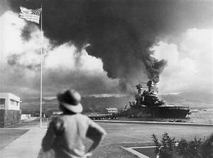 World War II: Pearl Harbor. American ships, USS California ...