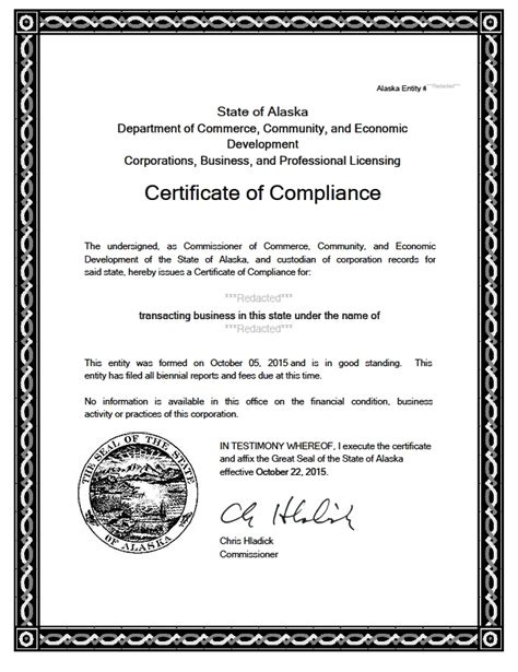 Certificate Of Good Standing alaska certificate of good standing certificate of
