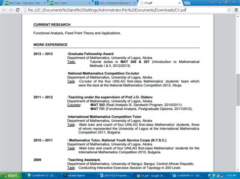 Resume Format For Phd Holders by Cv Of Africa S Youngest Ph D Holder Olaoluwa Hallowed Oluwadara Screen Education Nigeria