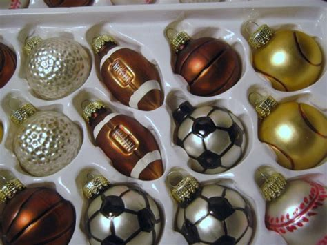 30 vintage blown glass sport themed 1980s christmas ornaments