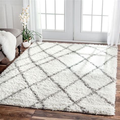 grey and white area rug nuloom my soft and plush moroccan trellis white