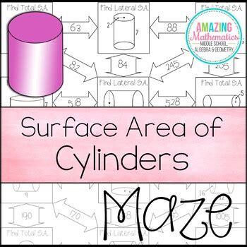 surface area  cylinders maze  amazing mathematics tpt
