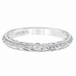 London Gold ArtCarved Engraved Diamond Wedding Band